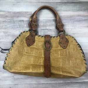 Claudia Firenze Croc Embossed Ostrich Leather Bag